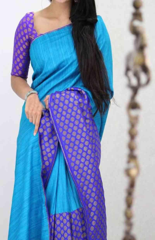 """Charming Blue Color Soft Silk Designer Sarees---SD1013  30"""""""