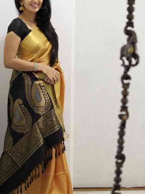 Cream n Black Color Soft Silk Designer Sarees - SD1039  30""