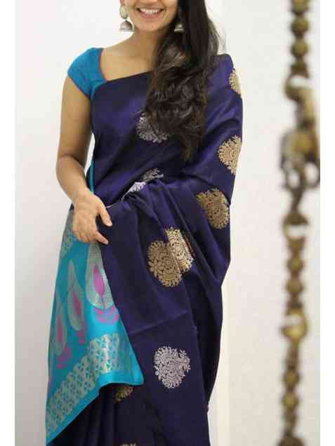 Soft Silk Blue color Printed Saree - SD1138