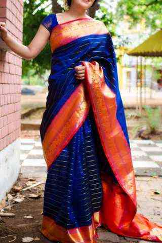 Outstanding Blue n Orange colored soft silk saree-SD114  30""