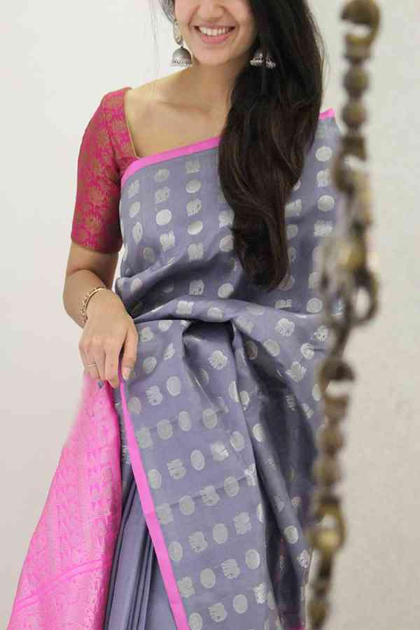 Entrancing Violet Colored Soft Silk Party Wear Saree-SD1414  30""