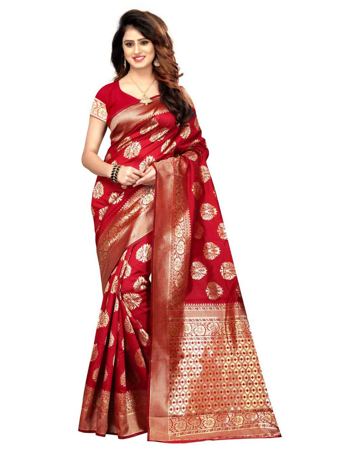 Red Colored Jacquard Silk Saree pari SD1503  30""