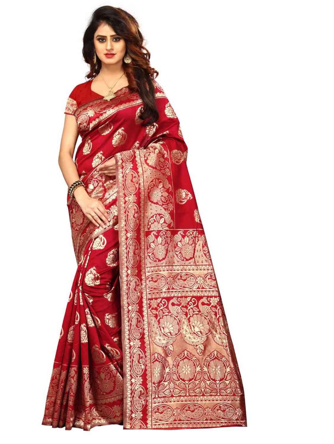 Red Colored Jacquard Silk Saree pari SD1604