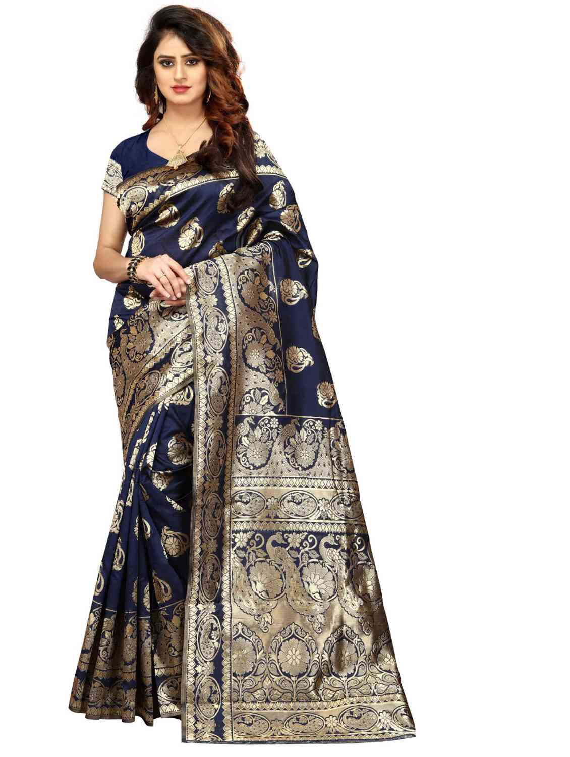 Neavy Blue Colored Jacquard Silk Saree pari SD1601