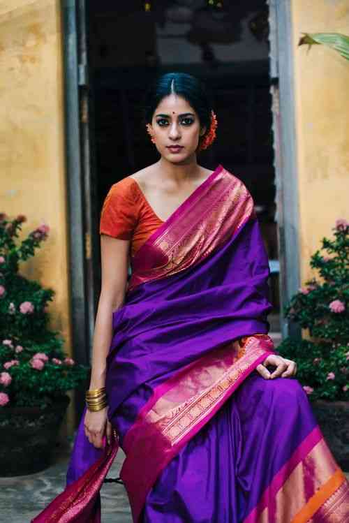 Elegant Purple Colored Soft Silk Printed Designer sarees SD177  30""
