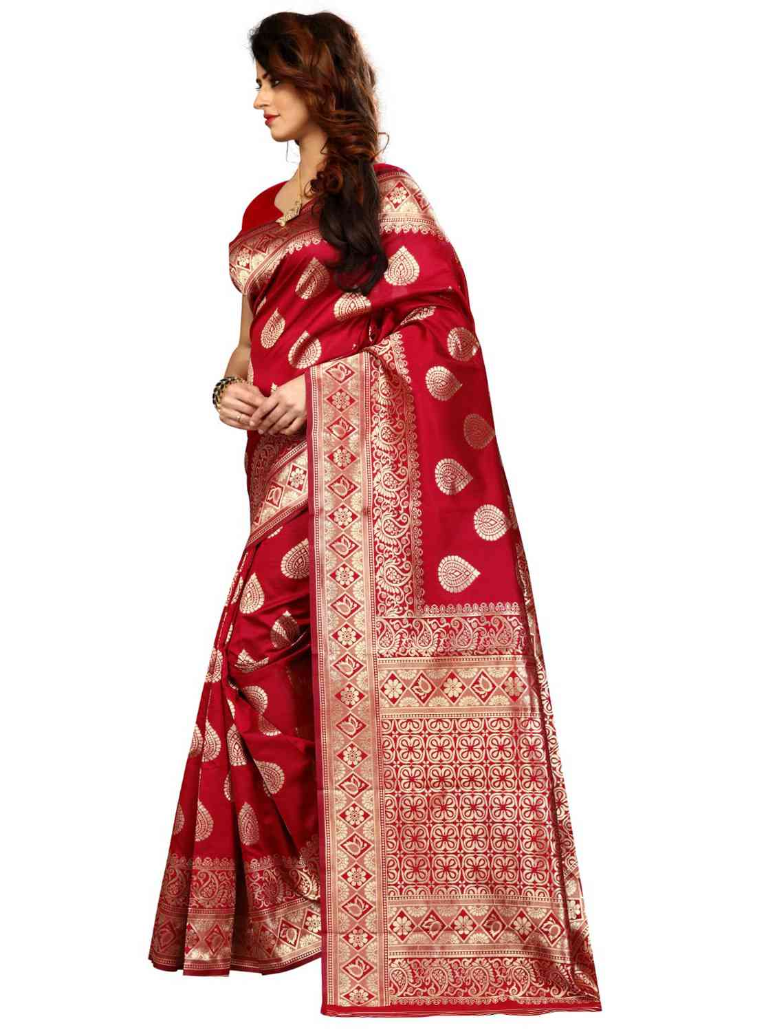 Red Colored Jacquard Silk Saree pari SD1804