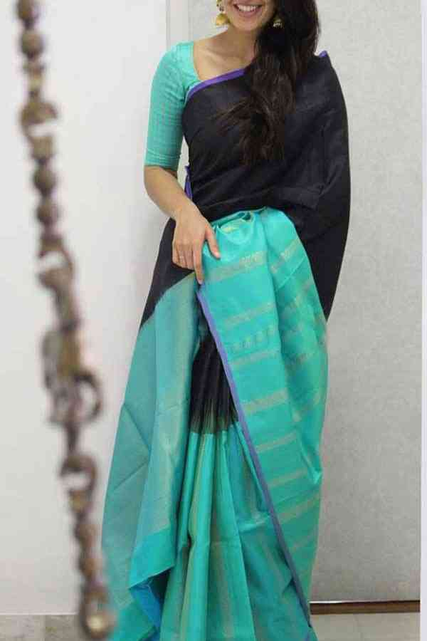 Black Colored Turquoise Blue Border Soft Silk Saree Designer Party wear For Women-SD1929  30""
