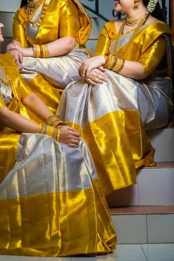 d5afe450686f07 Golden n White Colored Soft Silk Prited Designer saree SD226 |  www.sarideal.in