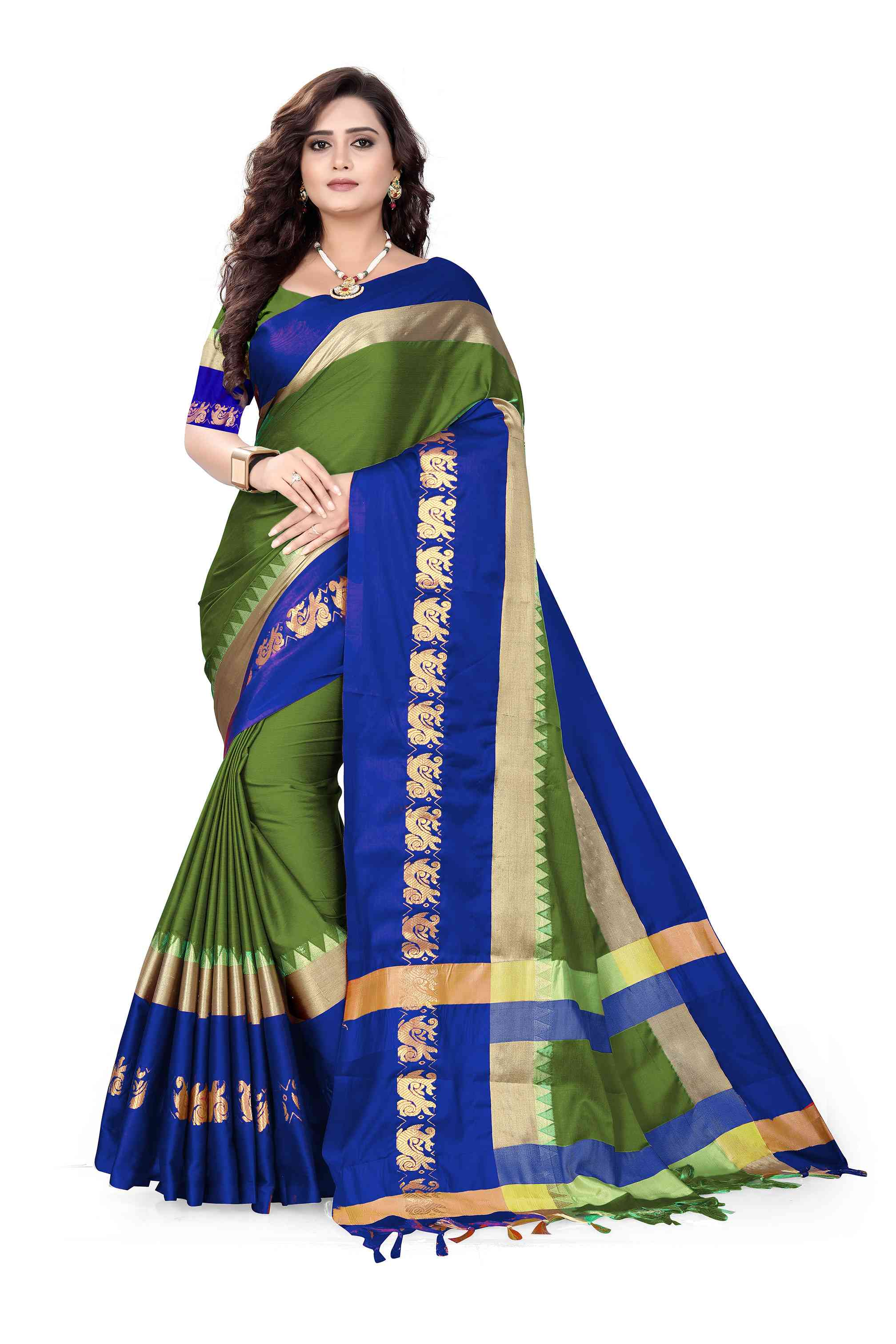 Green n Blue Colored  Colored Cotton Silk Party Wear Saree SD3006