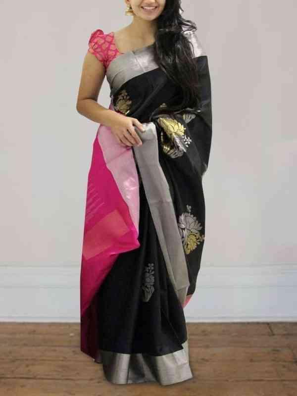 "Buoyant Black Color Soft Silk Printed Desiner SareeSD595  30"""