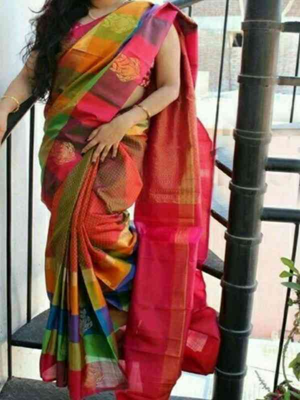 Multi Colored Soft Silk Printed Designer sarees SD655  30""