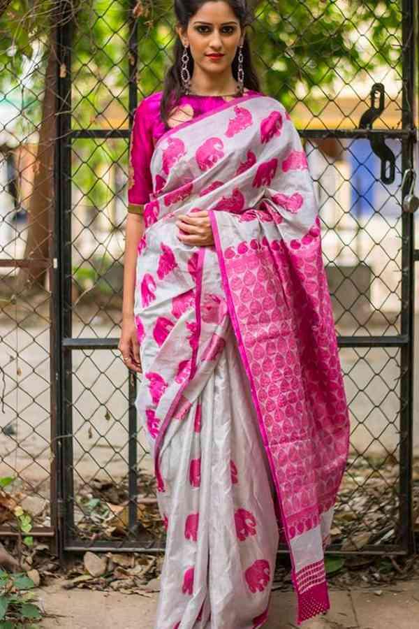 "Blissful White N Pink Colored Wedding Wear Soft Silk Printed Designer Saree-SF14  30"""