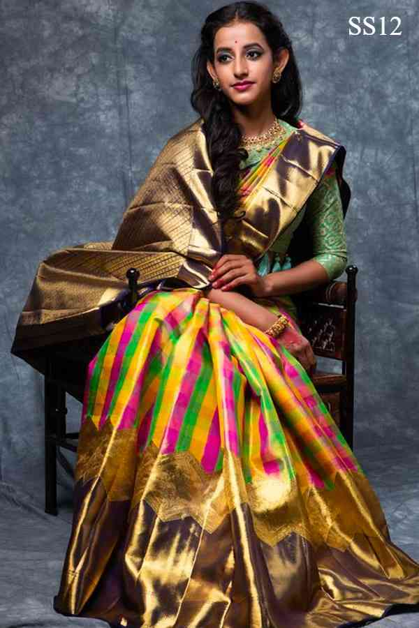 VIBRANT MULTI COLOUR CHECKED DESIGNER SOFT SILK  SAREE---SS12  30""