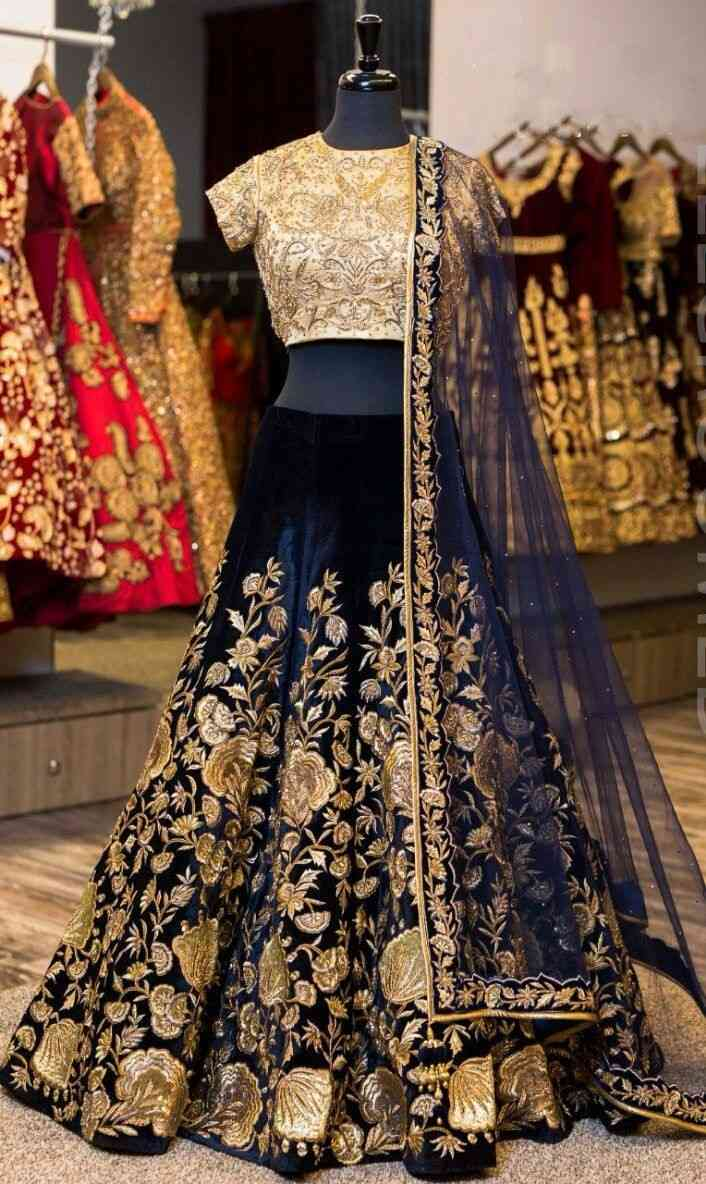 Nevy blue  Embroidered Attractive Party Wear Lehenga LC-199