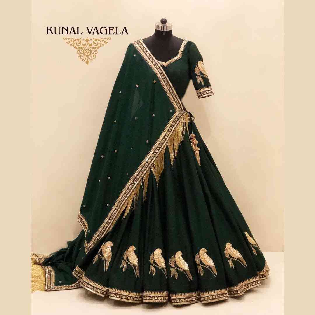 Green Embroidered Attractive Party Wear Lehenga LC--224  30""