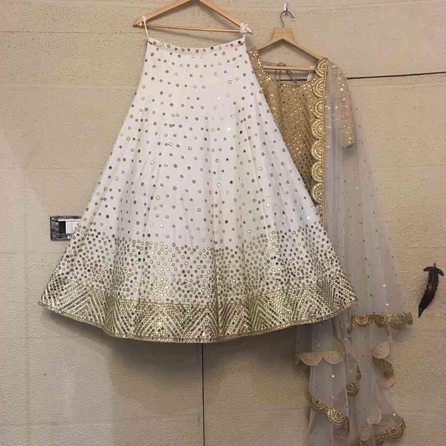 White Colored Golden Duppta Partywear Designer Embroidered  Silk Material Lehenga Choli-lc271  30""