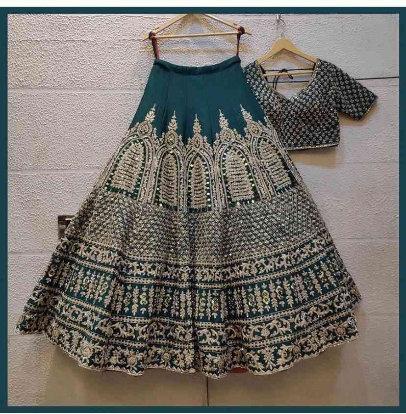 """Drasty Green Embroidered Attractive Party Wear Silk Material With Stone work Lehenga lc282  30"""""""