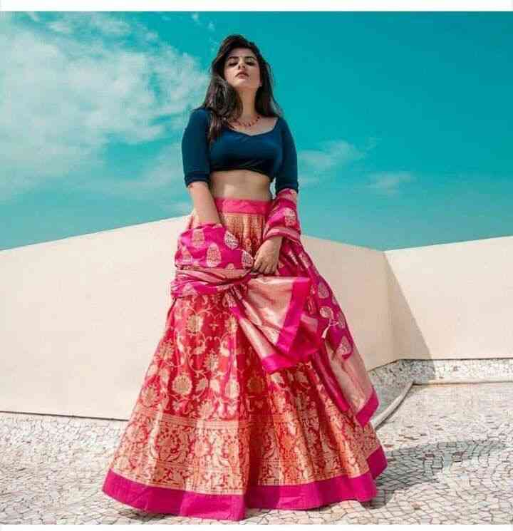Bule n Red Colored Partywear Designer Embroidered Tapeta Silk Lehenga Choli-LC57  30""