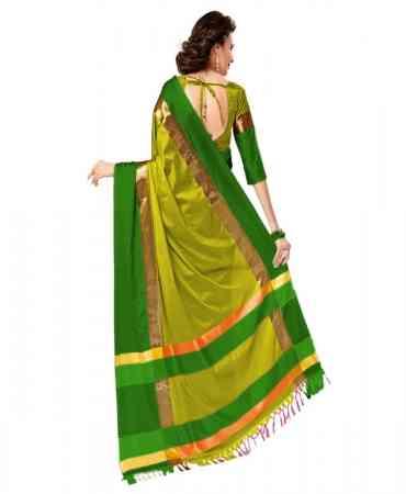 Green Color Poly Cotton Saree_SD_pcs21