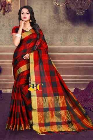 Multi colored Poly Cotton Checks Print Zari Pallu Zalar Saree