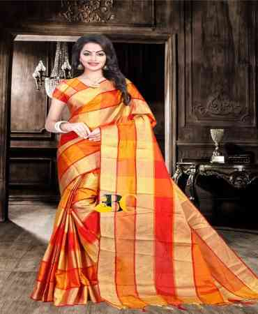 Fashionable Orange colored Poly Cotton Checks Print Zari Pallu Saree