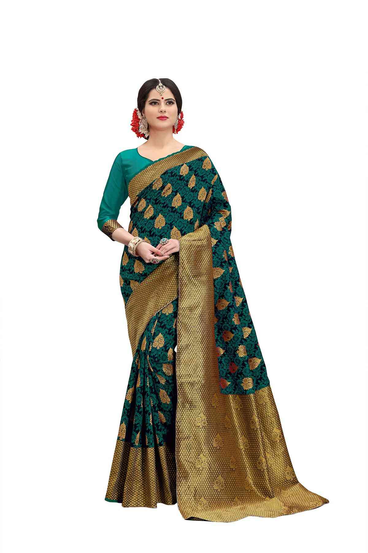Beautiful Green Colored Jacquard Silk Saree pari SD1010  30""