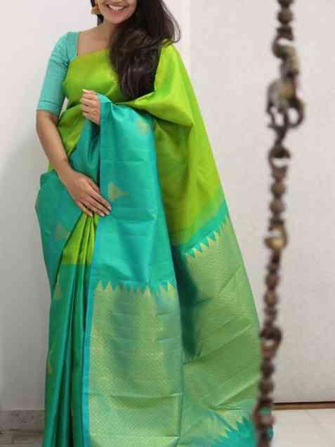 "Latest Green Color Soft Silk Designer Sarees -sd1286  30"""