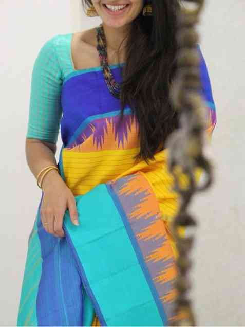 Classic yellow n sky blue Color Soft Silk Designer Sarees - sd1319  30""