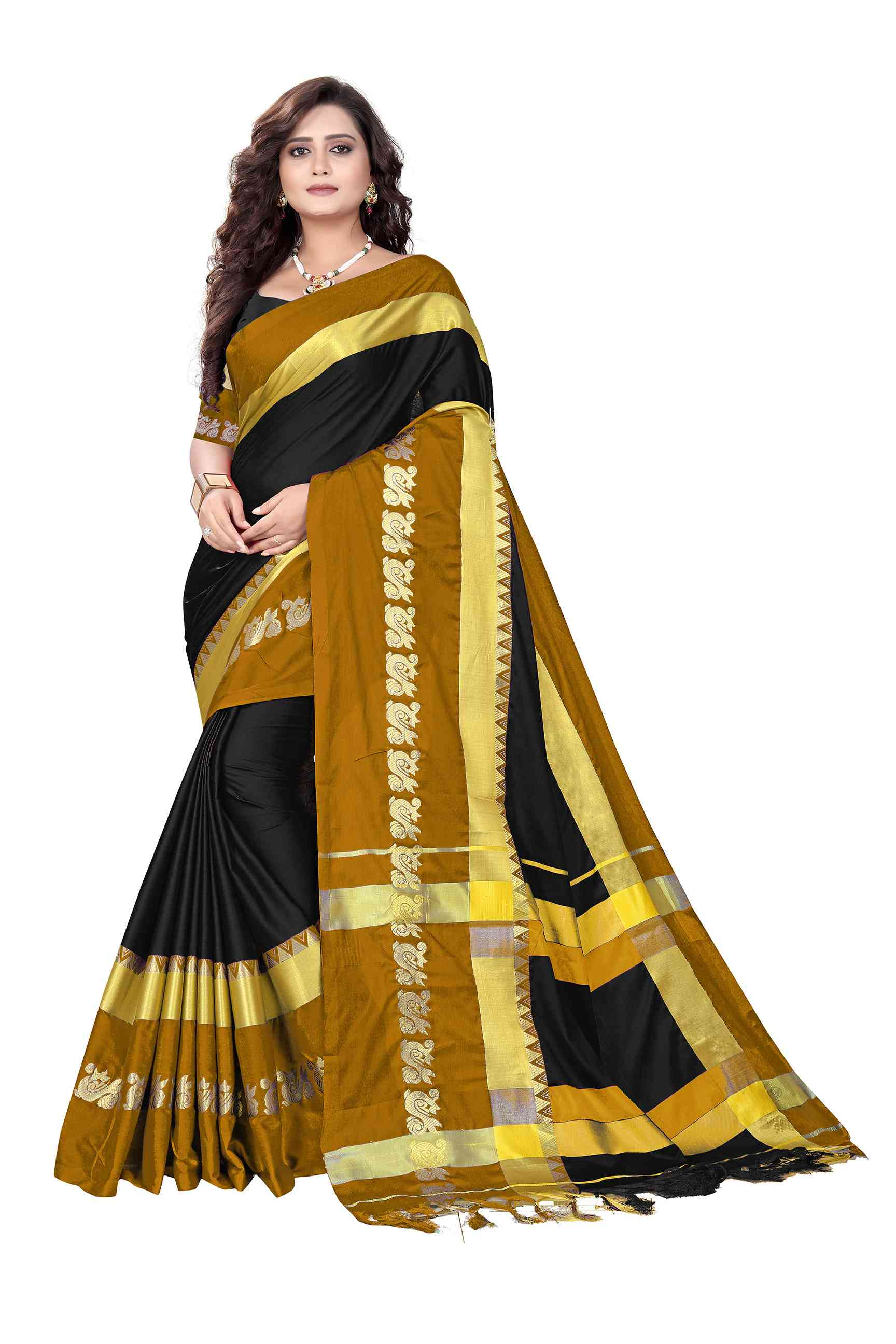 Yellow Colored Cotton Silk Party Wear Saree SD3000
