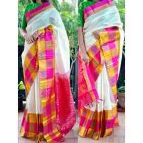 "white n pink soft silk printed saree  sd779   30"""