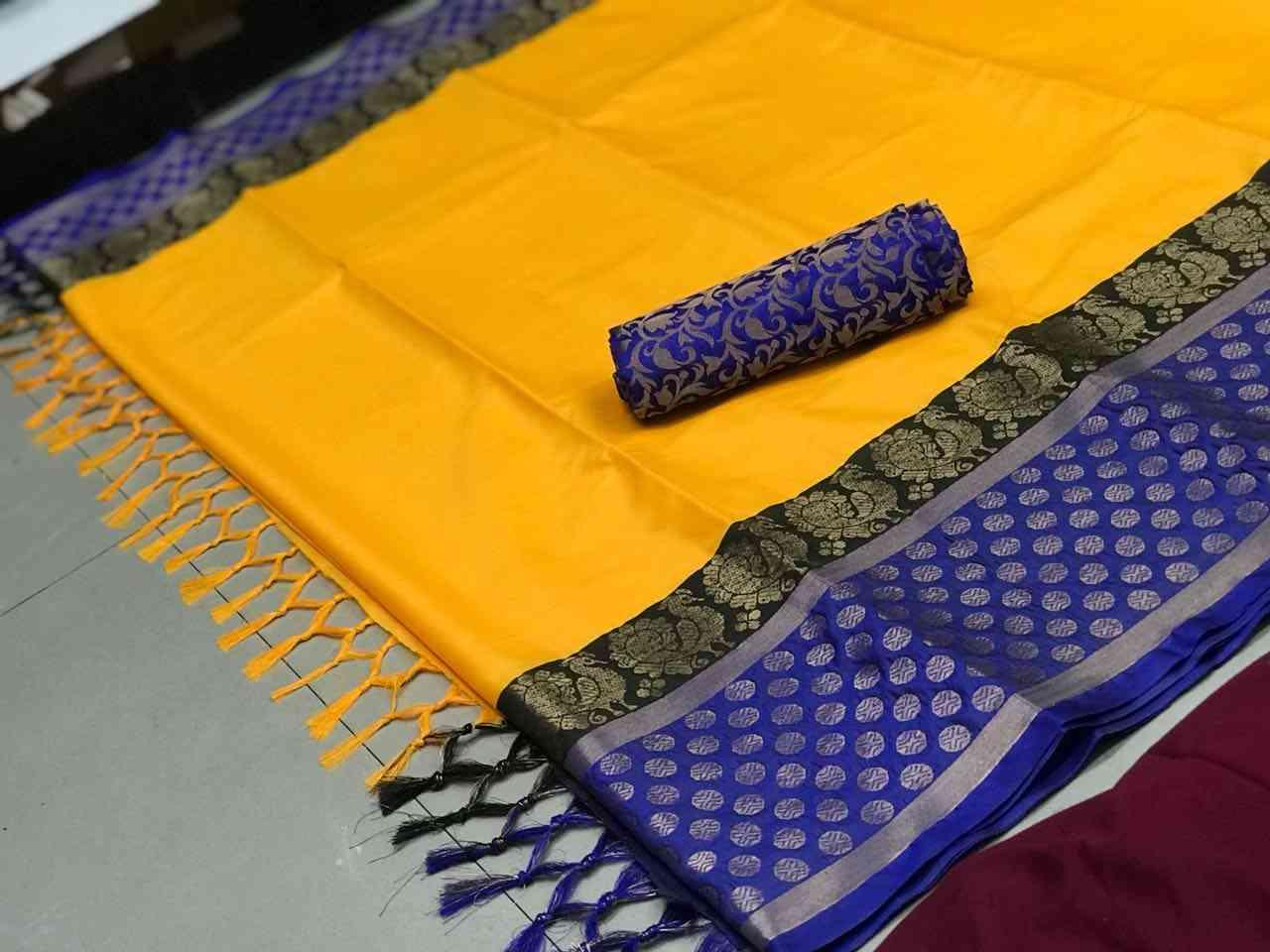 Yellow Colored Jacquard Silk Saree sdvtm7